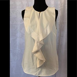 H&M Sleeveless Blouse Beige Ruffle Neckline Size 8